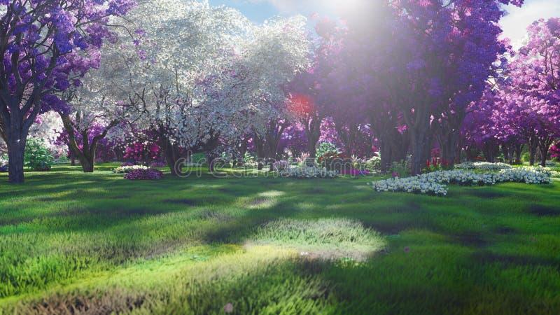 Boskronen van feebomen met helder zonlicht, vliegende paardebloemen en vlinders Magisch bos bij zonsopgang 3d vector illustratie
