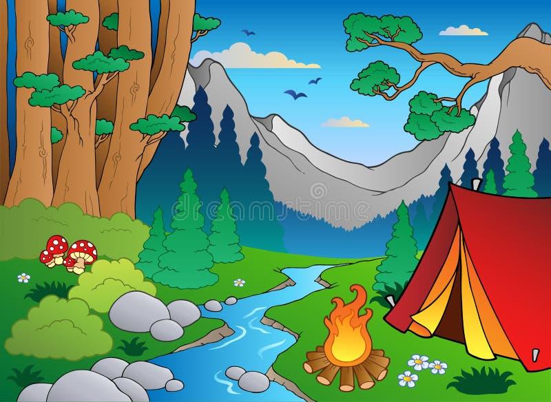 Boslandschap 4 van het beeldverhaal stock illustratie