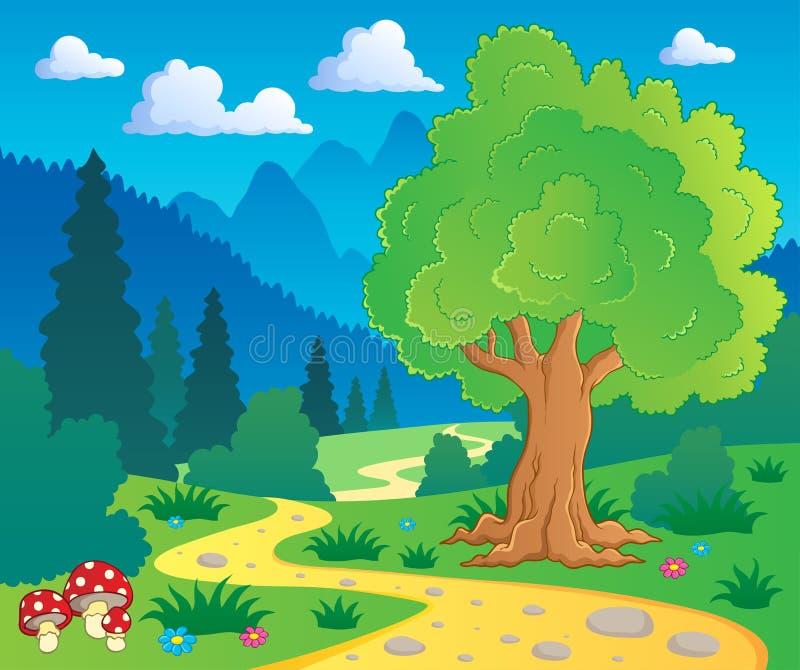 Boslandschap 8 van het beeldverhaal royalty-vrije illustratie