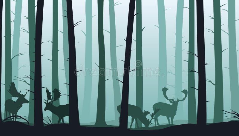 Boslandschap met silhouetten van bomen en braakakkerdeers - vectorillustratie vector illustratie