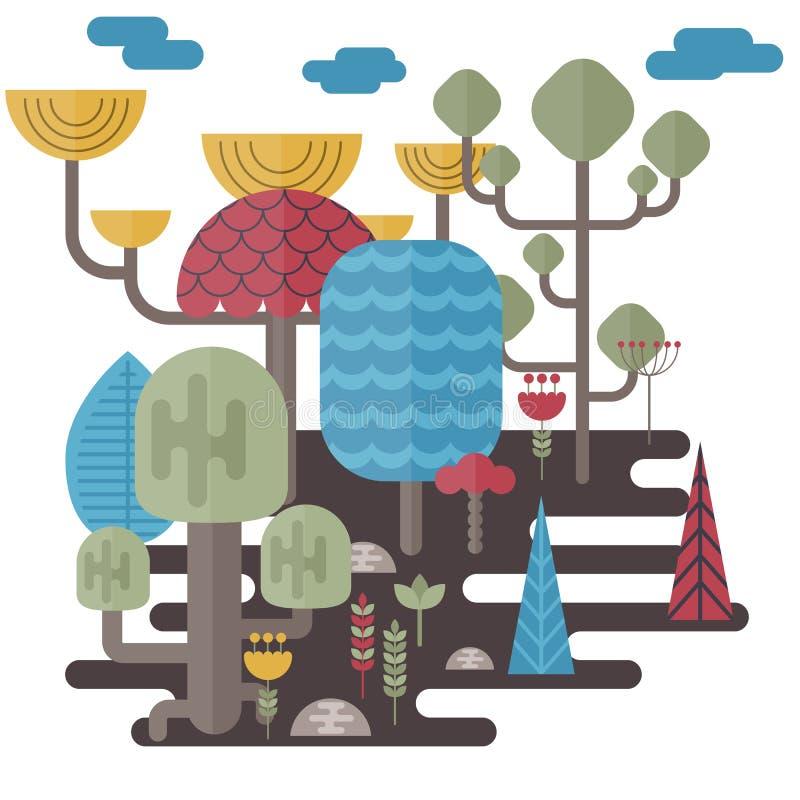Boslandschappen vector illustratie