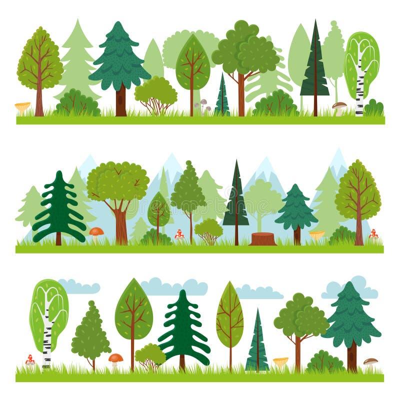 Boslandschappen Het bospanorama van aardbomen, bossenmilieu en de vectorillustratie van de pijnboomboom vector illustratie
