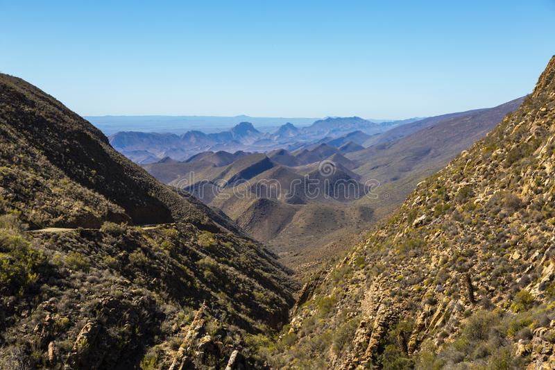 Bosluiskloof Pass with Swartberg Mountains in the background stock photo