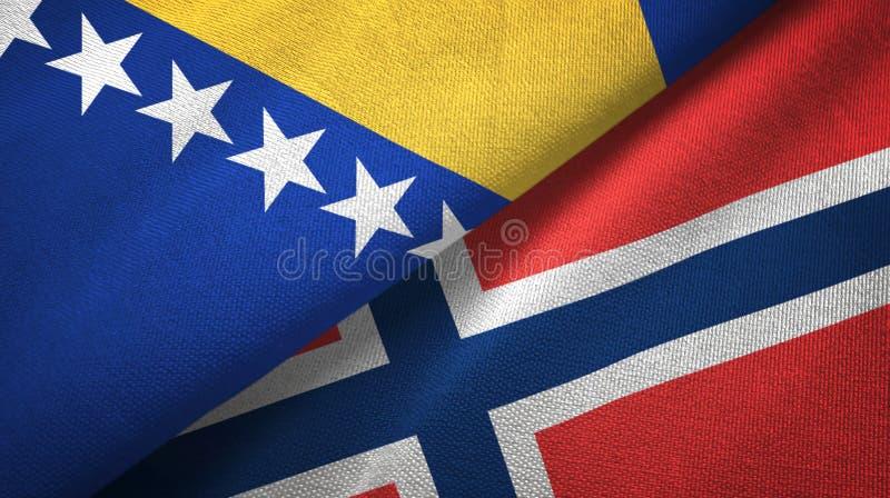 Bosnië-Herzegovina en Noorwegen twee vlaggen textieldoek, stoffentextuur vector illustratie