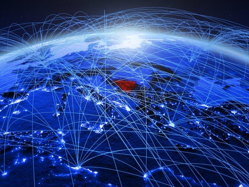 Bosnië-Herzegovina op blauwe digitale aarde met internationaal netwerk die mededeling, reis en verbindingen vertegenwoordigen royalty-vrije stock afbeelding