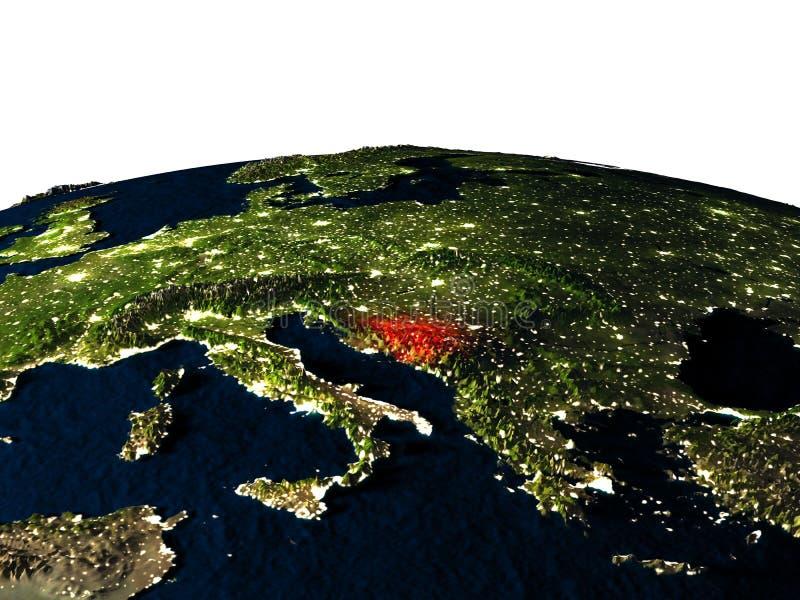 Bosnië van ruimte bij nacht stock illustratie
