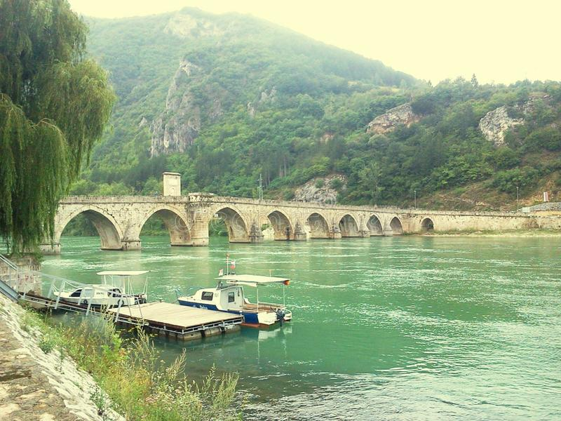 Bosnia. Beife boat green landscape stock photography
