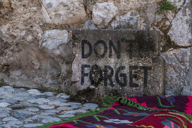 Mostar, stone, don`t forget, Stari Most, Old Bridge, symbol, Ottoman Empire, Bosnia and Herzegovina, Europe, war, reconstruction stock image