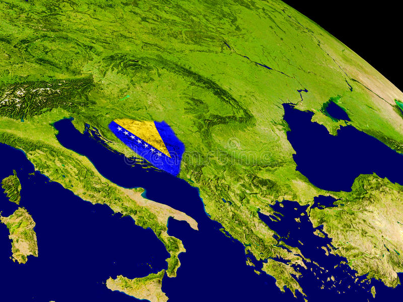 Bosnia with flag on Earth. Map of Bosnia with embedded flag on planet surface. 3D illustration. Elements of this image furnished by NASA vector illustration