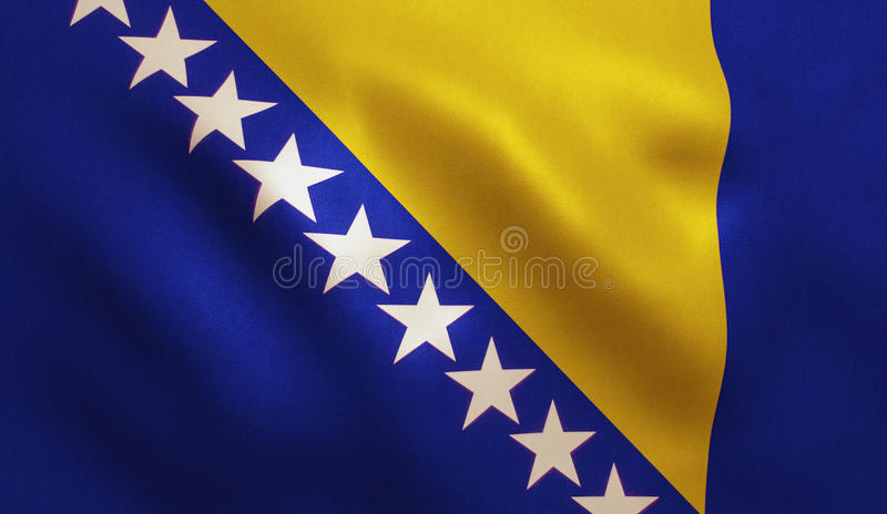 Bosnia Flag. Bosnia and Herzegovina flag with fabric texture. 3D illustration royalty free stock photos