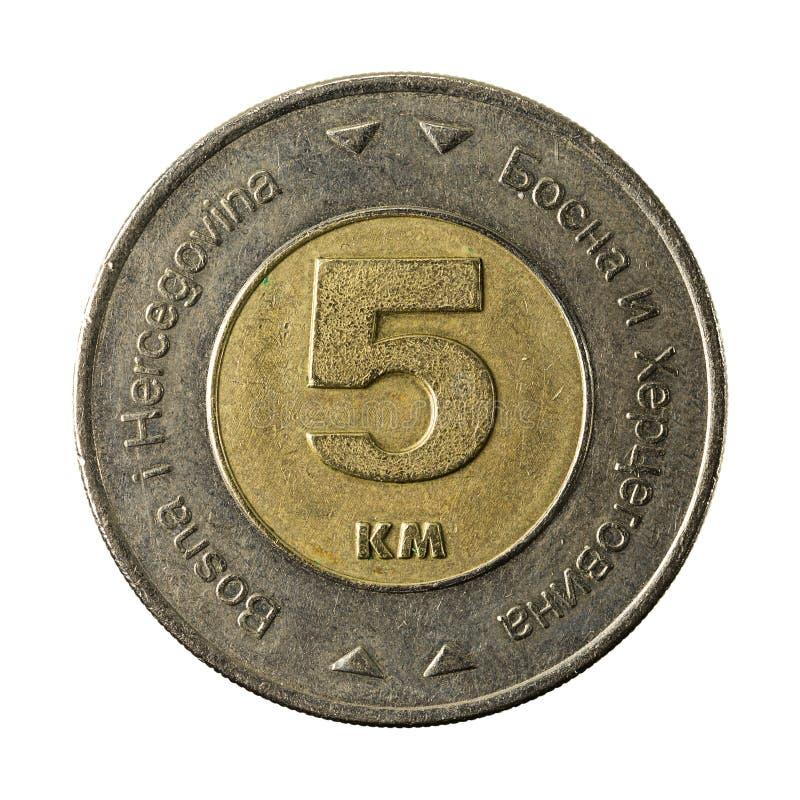 5 bosnia and herzegovina convertible mark coin 2009 obverse. Isolated on white background stock image