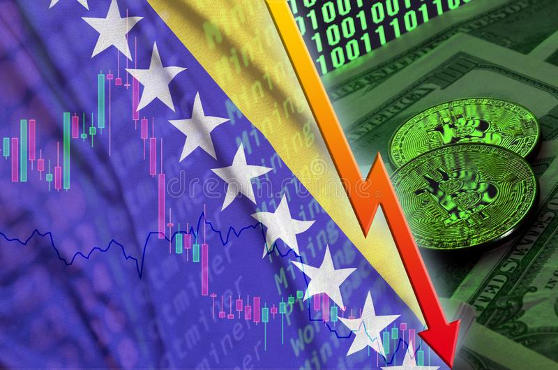 Bosnia and Herzegovina flag and cryptocurrency falling trend with two bitcoins on dollar bills and binary code display. Concept of reduction Bitcoin in price stock images