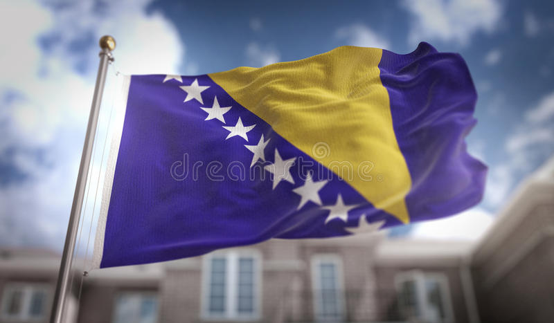 Bosnia and Herzegovina Flag 3D Rendering on Blue Sky Building Ba royalty free stock photography
