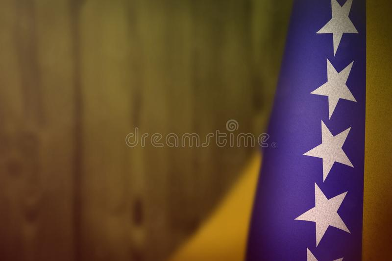 Bosnia and Herzegovina flag for honour of veterans day or memorial day. Glory to the Bosnia and Herzegovina heroes of war concept royalty free stock photos