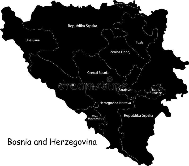 Download Bosnia and Herzegovina map stock vector. Image of names - 6863990