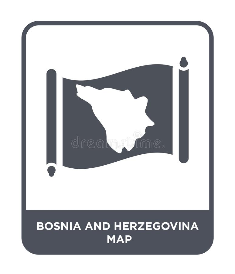 Bosnia and herzegovina map icon in trendy design style. bosnia and herzegovina map icon isolated on white background. bosnia and. Herzegovina map vector icon vector illustration