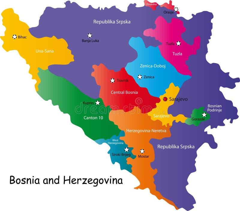 bosnia Herzegovina mapa - ilustracji