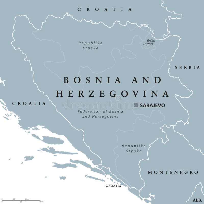 Bosnia And Herzegovina Political Map With Capital Sarajevo Stock