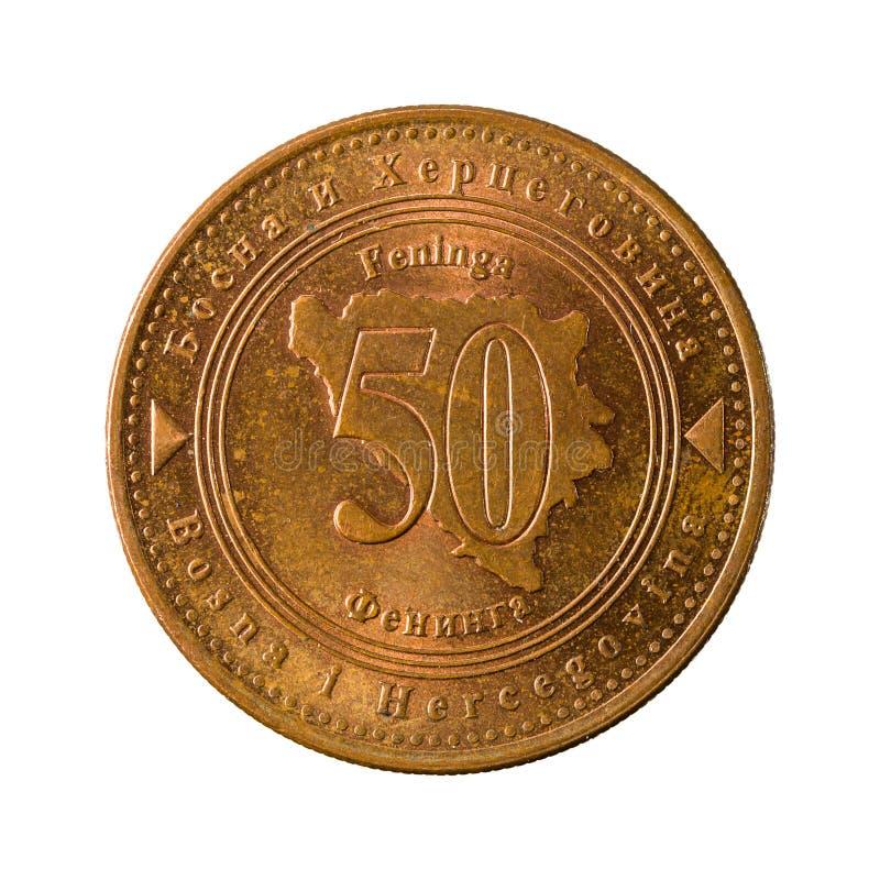 50 Bosnia i Herzegovina monety odwracalny fening 2007 awers fotografia royalty free