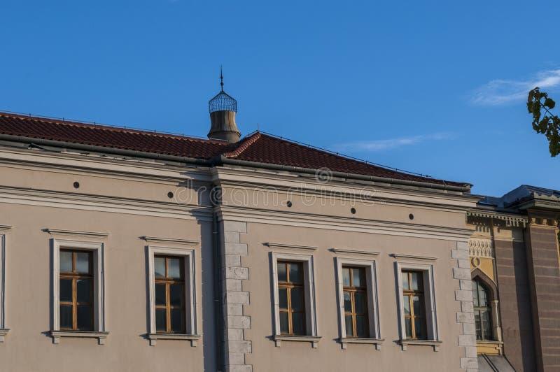Mostar, reconstruction, palace, bombed, Bosnia and Herzegovina, Europe, city, street, architecture, walking, skyline. Bosnia, 5/07/2018: a palace near the Musala royalty free stock photos