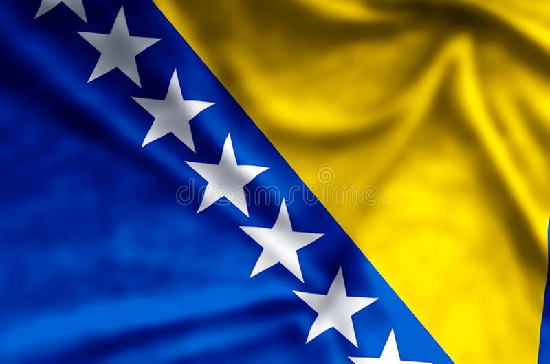 Bosnia. Stylish waving and closeup flag illustration. Perfect for background or texture purposes royalty free stock photography