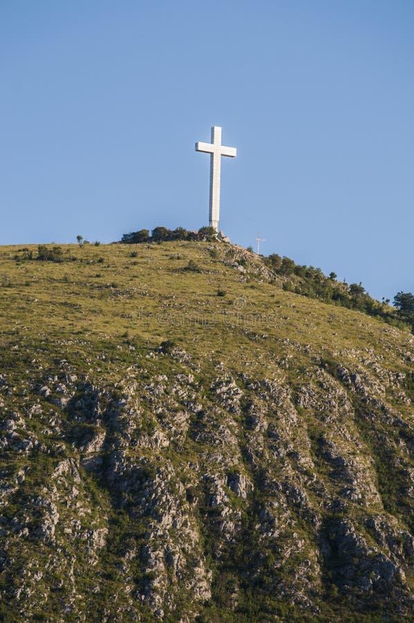 Mostar, skyline, Millennium cross, Hum hill, top, symbol, Bosnia and Herzegovina, Europe, catholicism royalty free stock photo