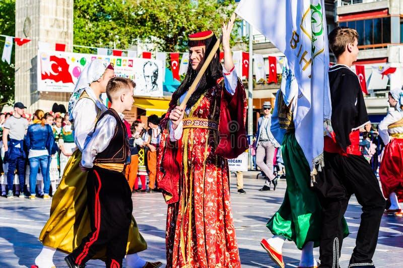 Bosnia y Herzegovina en celebración del día del ` nacional s de la soberanía y de los niños - Turquía fotografía de archivo