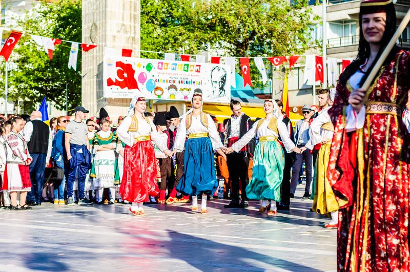 Bosnia y Herzegovina en celebración del día del ` nacional s de la soberanía y de los niños - Turquía fotos de archivo