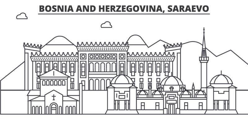 Bosnia y Herzegovina, línea ejemplo de la arquitectura de Saraevo del horizonte Paisaje urbano linear del vector con las señales  stock de ilustración