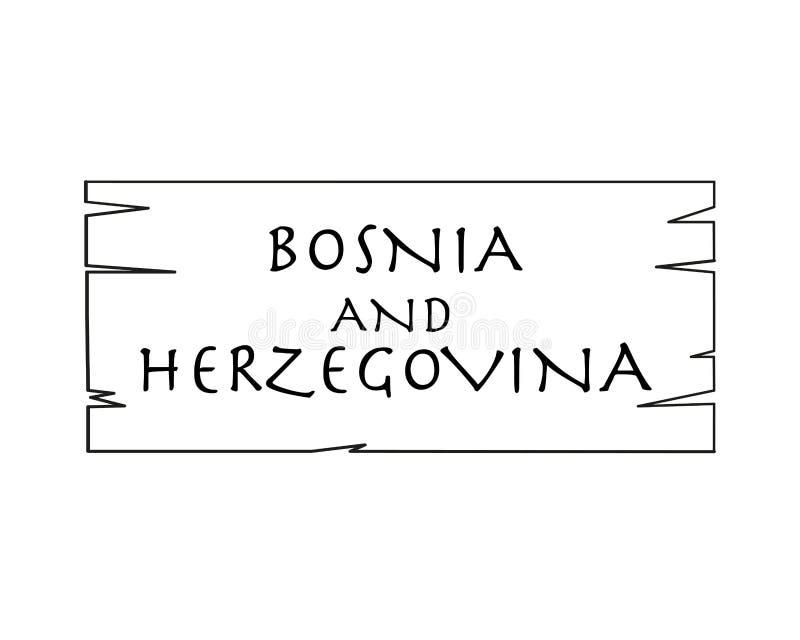 Bosnia Y Herzegovina, Nombre De País Escrito En El Fondo Blanco ...