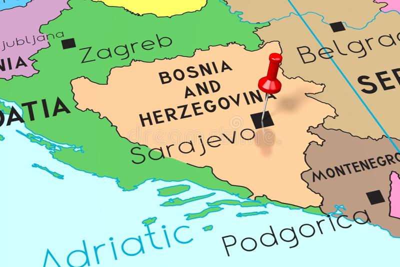Mapa De La Ciudad De Sarajevo Bosnia Y Herzegovina En Estilo Retro