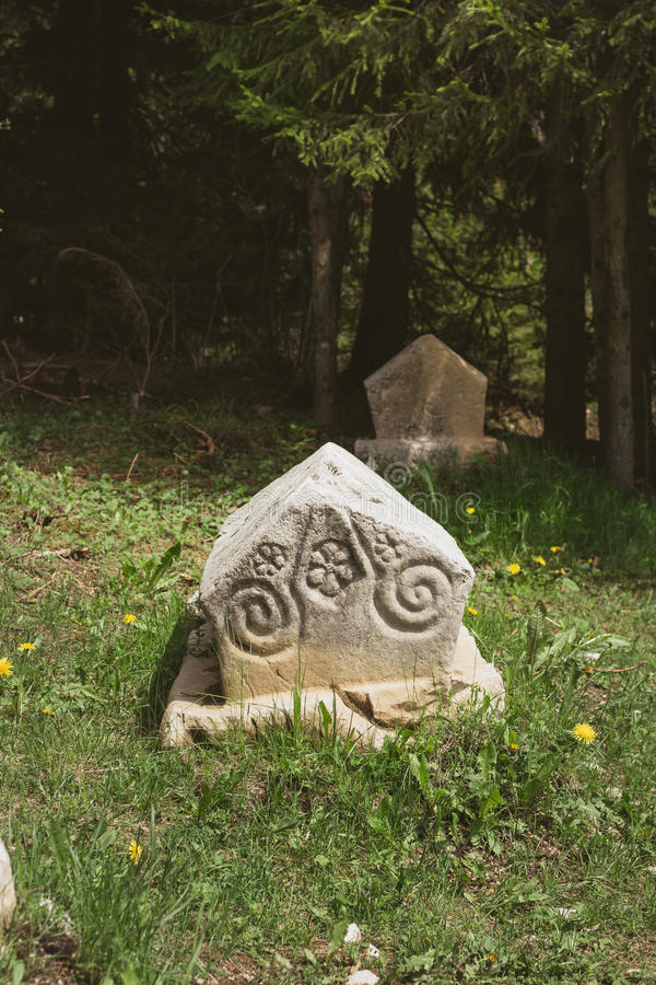 Bosnian Tombstones. Bosnian Medieval Tombstones (Stecaks or Stecci stock images