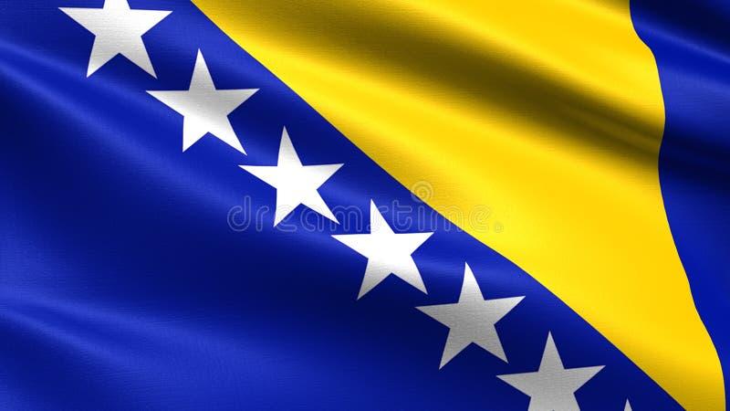 Bosnien och Hercegovina flagga, med vinkande tygtextur vektor illustrationer