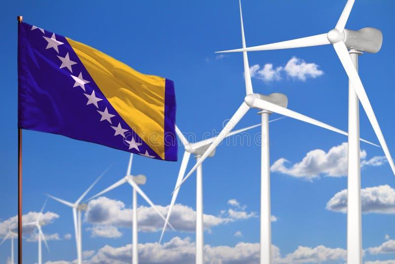 Bosnien und Herzegowina alternative Energie, industrielles Konzept der Windenergie mit Windmühlen und industrielle Illustration d stock abbildung