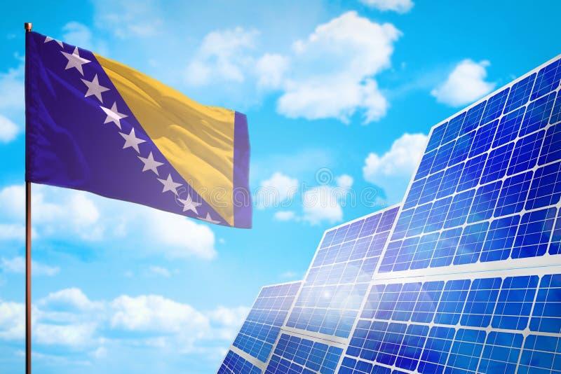 Bosnien und Herzegowina alternative Energie, Solarenergiekonzept mit industrieller Illustration der Flagge - Symbol des Kampfes m stock abbildung