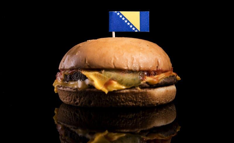 Download Bosnien Und Herzegowina Kennzeichnen Auf Den Hamburger, Der Auf Schwarzem Lokalisiert Wird Stockbild - Bild von schwarzes, käse: 96935149