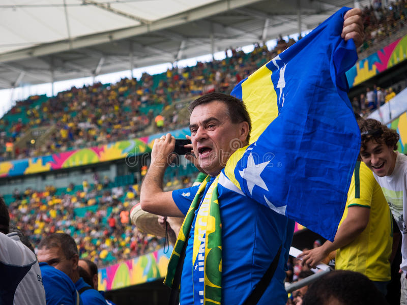 Bosnien und Herzegowina lockern das Feiern von Victory Against Iran am Weltcup-Match auf lizenzfreie stockfotografie