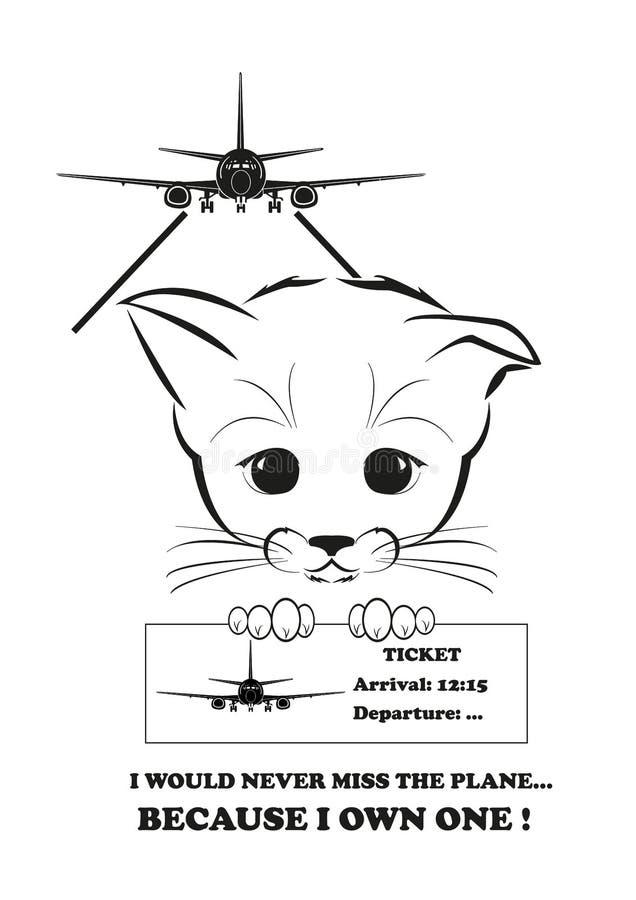 Boso никогда не опаздывало бы к его самолету иллюстрация вектора