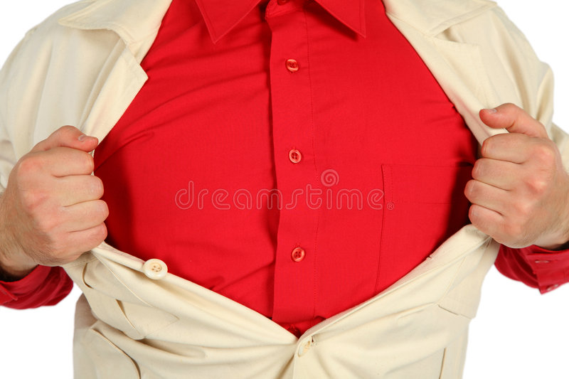 Download Bosom In A Red Shirt Opened By Hands Stock Photo - Image: 6582552