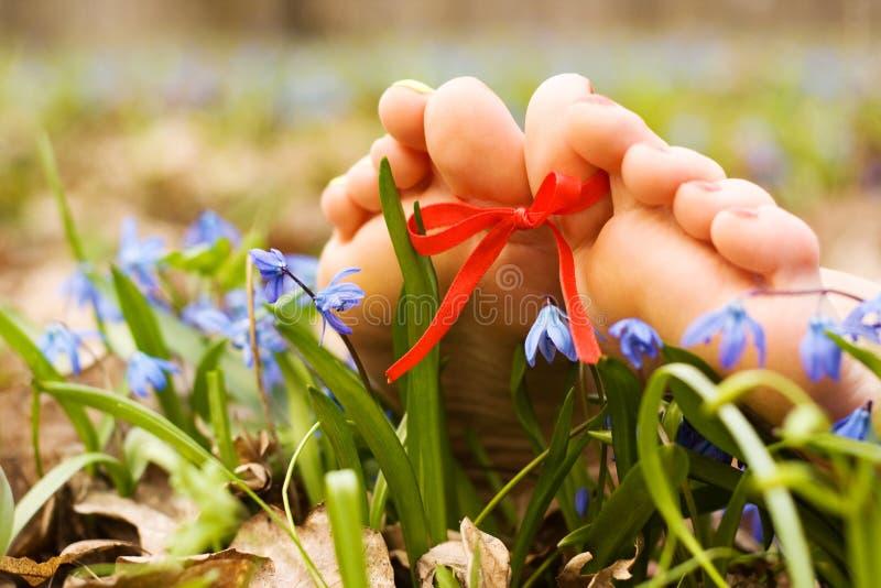 bosonogich łęku cieków kwiatów tasiemkowa s kobieta obraz royalty free