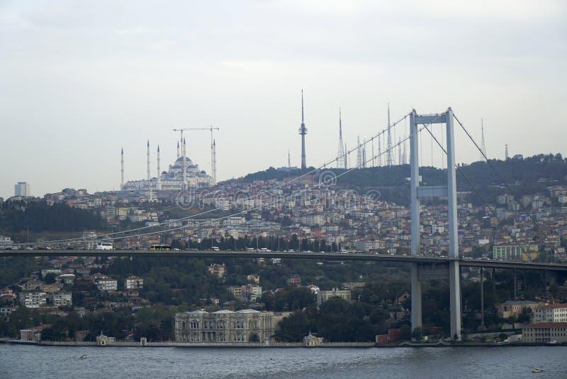 Bosphorus Bridge with Beylerbeyi Palace and Camlica Mosque royalty free stock images