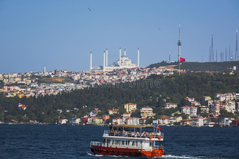 The Bosphorus Bridge and Camlica Mosque.Uskudar.View from boat stock photography