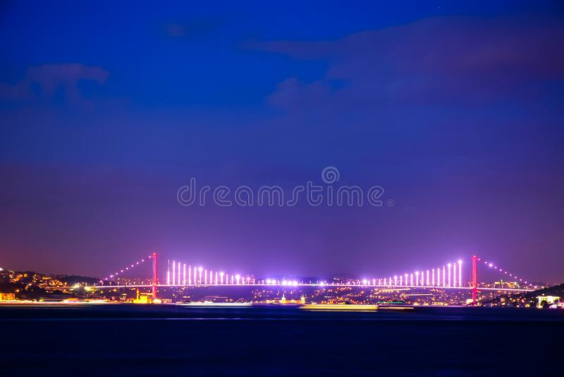 Bosphorus bridge evening Istanbul, night lighting stock photo