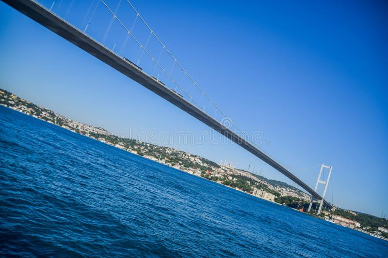 Bosphorus Bridge in Istanbul, Turkey. Crossing the Bosphorus strait and connecting Europe and Asia stock images