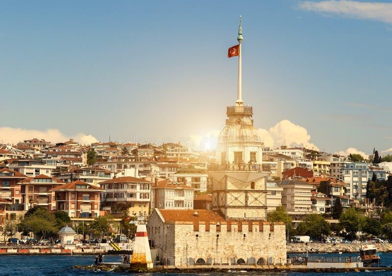 Bosphorus-Leuchtturm in Istanbul, die Türkei stockfotografie