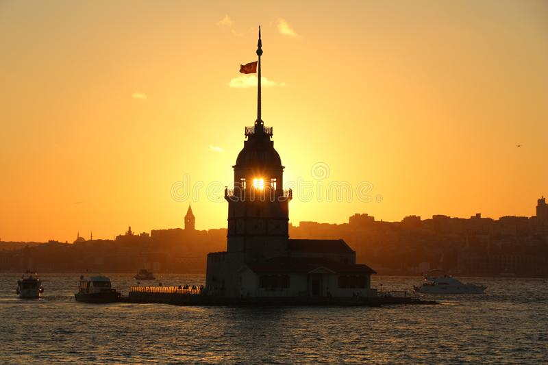 Bosphorus, Maiden`s Tower at sunset. stock image