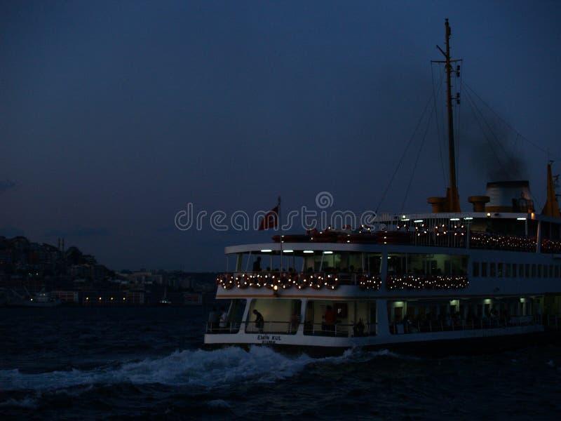Bosphorus by night stock image