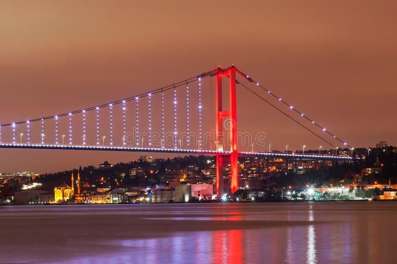 Bosphorus przerzuca most 15th Lipa męczenników nigt połówki Bridżową sekcję obrazy stock