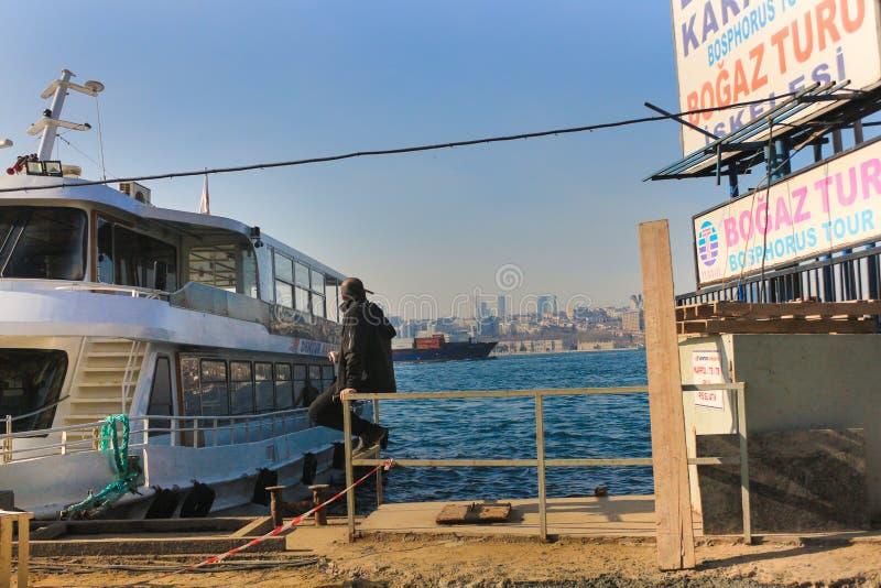 Bosphorus Tour Boat Besiktas Buildings Istanbul stock images