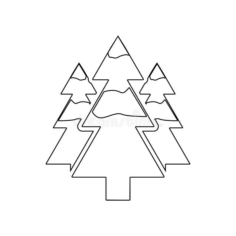 Bospictogram Element van de Winter voor mobiel concept en webtoepassingenpictogram Overzicht, dun lijnpictogram voor websiteontwe royalty-vrije illustratie